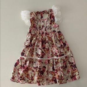 Lil Lemons Lace Floral Party Dress 4T